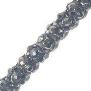 Hematite rhinestone gunmetal colour reticulated chain